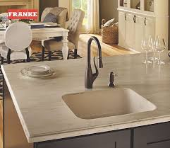 the franke tulip faucet paired with a granite undermount sink give