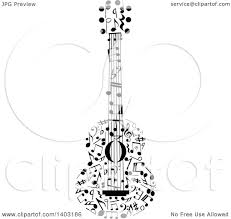 clipart of a black and white guitar made of music notes royalty