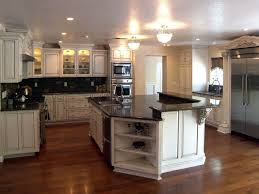 likable interior design with antique white u shaped custom kitchen