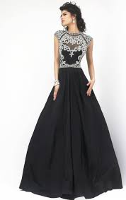 beaded turtle neck black evening gown open back ballgown 2015
