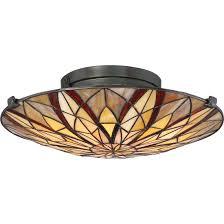 Flush Mount Stained Glass Ceiling Light Tfvy1400va Victory 2 Light Flush Mount In Valiant Bronze