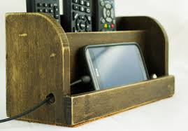rustic dark wood charging station for ipad or smartphone
