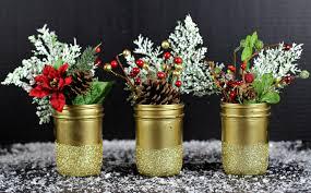 Mason Jar Vases Gold Glittered Mason Jar Vases