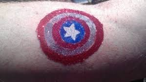 captain america glitter tattoos and face painting