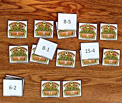 subtraction worksheets used to play treasure chest match