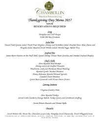 thanksgiving day menus thanksgiving day menu the chamberlin