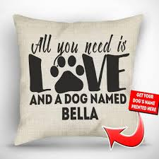 Custom Burlap Art Print Love - personalized all you need is love and a dog named throw pillow