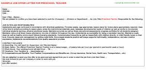 preschool teacher offer letter