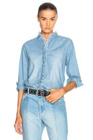 ruffle blouse marant etoile lawendy chambray ruffle blouse in blue fwrd