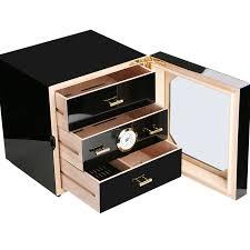 promotion price cohiba black high glossy cedar wood cigar cabinet