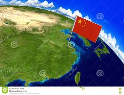 World Map China by Flag Marker Over Country Of China On World Map 3d Rendering Stock