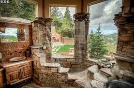 Rustic Tile Bathroom - rustic master bathroom with flat panel cabinets u0026 ceramic tile