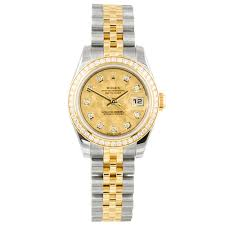 diamond rolex pre owned unused rolex datejust steel u0026 yellow gold diamond bezel