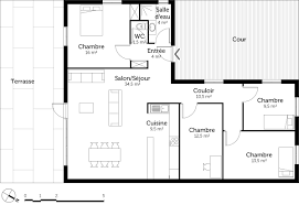 plan plain pied 3 chambres plan maison 70m2 3 chambres newsindo co