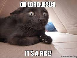 Jesus Cat Meme - oh lord jesus it s a fire make a meme