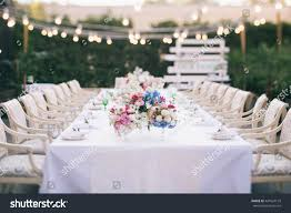 wedding table that decorated flower arrangements stock photo