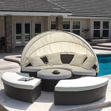 Outdoor Wicker Sofa Set Round With Canopy Wicker Patio Furniture - Round outdoor sofa 2