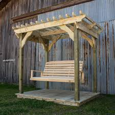 Garden Arbor Swing Mini Pergola W Deck And Lumbar Swing