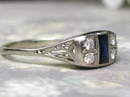art deco engagement ring antique sapphire u0026 diamond wedding ring