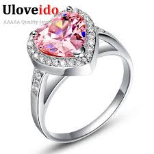 pink crystal rings images Uloveido heart ring love pink engagement rings for women silver jpg
