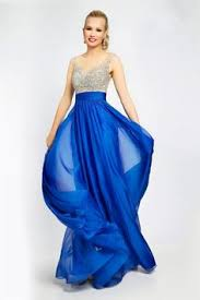 flowing a line royal blue chiffon pleated special occasion evening