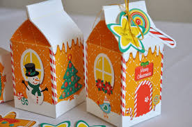 christmas holiday gingerbread house milk carton treat gift box