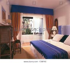 bedroom blue wool throw in bedroom in spanish apartment with a