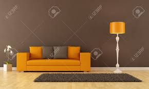 Orange Sofa Living Room by Brown Living Room With Orange Couch Rendering Stock Photo