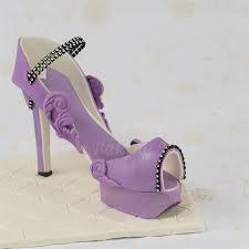 shoe cake topper purple fondant high heel shoe bobbies baking