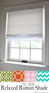 no sew relaxed roman shades made using a vinyl roller shade