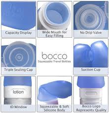Amazon Travel Accessories Amazon Com Bocco Leak Proof Squeezable Travel Bottles Tsa
