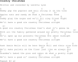 christmas carol song lyrics with chords for country christmas