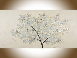 silver flowers silver blossoms by qiqigallery 48 x 24 original painting