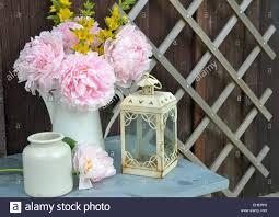 Chic Flower Garden Peonies Shabby Chic Flowers Stock Photo Royalty Free Image