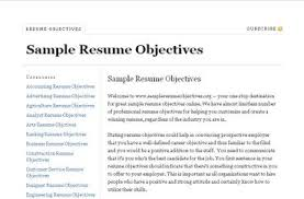 Objective Example Resume by Resume Objectives Examples