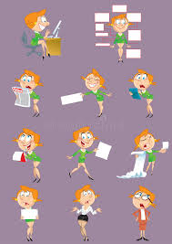 le bureau fille fille qui travaille dans le bureau illustration de vecteur