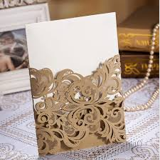 wholesale wedding invitation card laser cut flower gold hollow