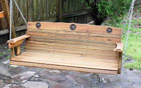 exterior classic oak wood porch swing cushions for backyard