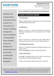 Electronics Engineer Job Description Building Automation Engineer Job Vacancy In Sri Lanka
