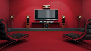 cute red painted rooms with red painted wall and dark brown sofa