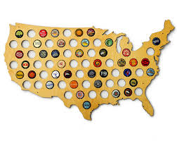 Map It Usa by Amazon Com Usa Beer Cap Map Glossy Wood Bottle Cap Holder