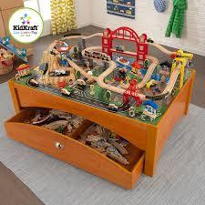 thomas train set wooden table amazon com kidkraft metropolis train set and honey table train