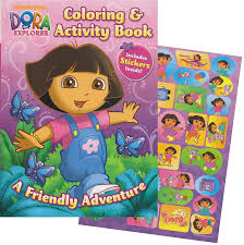 nickelodeon coloring book amazon com dora the explorer giant coloring book with stickers