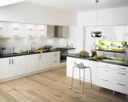 What Color Kitchen Cabinets Are In Style White Modern Kitchen With Weathered Wooden Floor Contemporary
