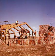 apprentices building the pavilion for frank lloyd wright u0027s