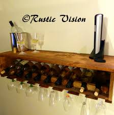 furniture charming wall mounted wood wine glass rack and wine
