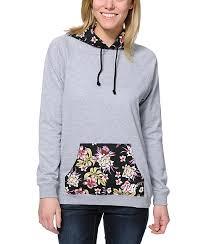 neff vacation grey floral pullover hoodie zumiez