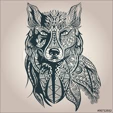 wolf feather vector line art tattoo ideas pinterest feather