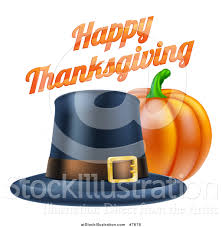 vector illustration of a 3d pumpkin with a pilgrim hat and happy
