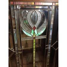 Antique Stained Glass Door by Antique Craftsman Cabinet With Stained Glass Door Chairish
